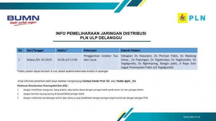 Info Pemeliharaan Jaringan Listrik PLN ULP Delanggu Klaten Hari Ini, Selasa 1 Oktober 2019