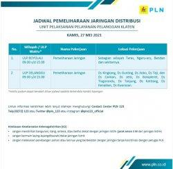 Info Pemeliharaan Jaringan Listrik PLN ULP Delanggu Klaten Kamis 27 Mei 2021