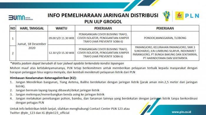 Info Pemeliharaan Jaringan PLN ULP Grogol Sukoharjo Jumat 18 Desember 2020