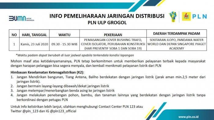 Info Pemeliharaan Jaringan PLN ULP Grogol Sukoharjo, Kamis 23 Juli 2020