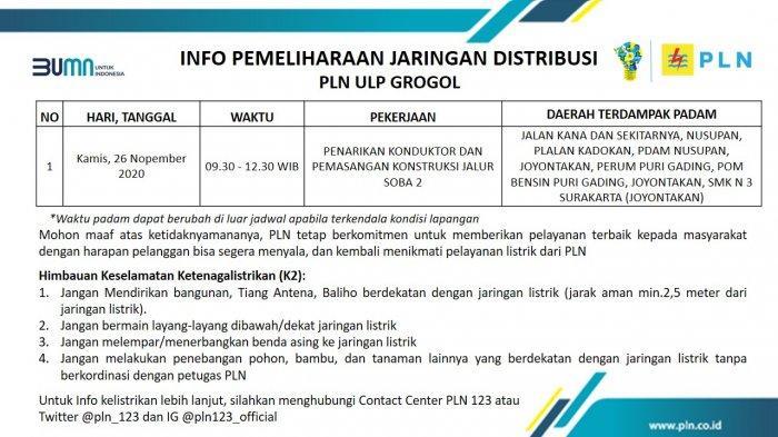 Info Pemeliharaan Jaringan PLN ULP Grogol Sukoharjo Kamis 26 November 2020