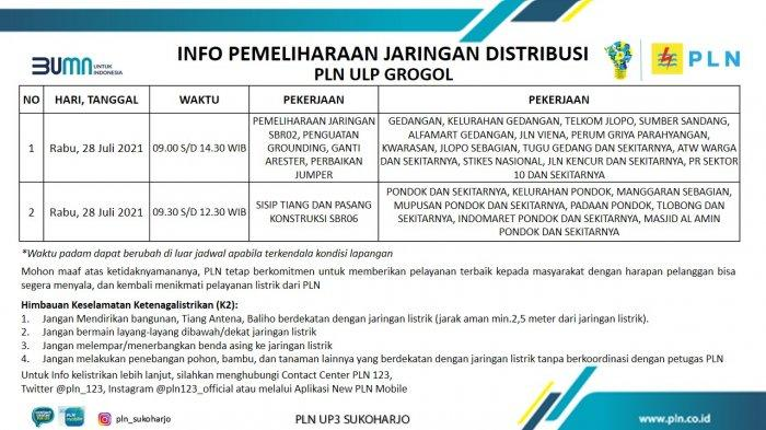 Info Pemeliharaan Jaringan Listrik PLN ULP Grogol Sukoharjo Rabu 28 Juli 2021