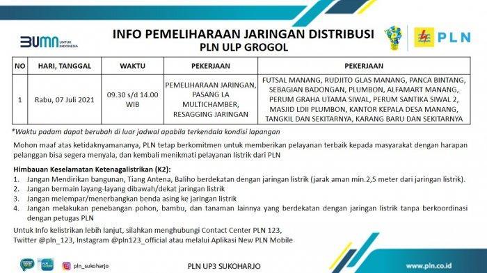 Info Pemeliharaan Jaringan Listrik PLN ULP Grogol Sukoharjo Rabu 7 Juli 2021