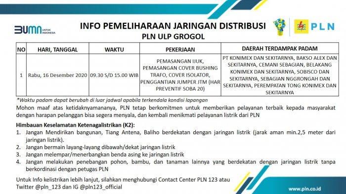Info Pemeliharaan Jaringan Listrik PLN ULP Grogol Sukoharjo Rabu 16 Desember 2020