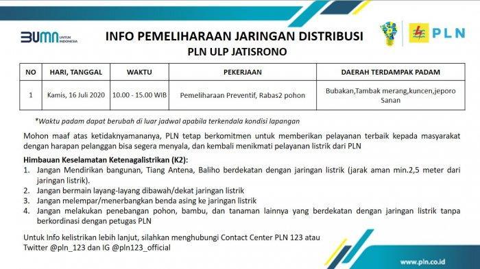 Info Pemeliharaan Jaringan Listrik PLN ULP Jatisrono, Kamis 16 Juli 2020