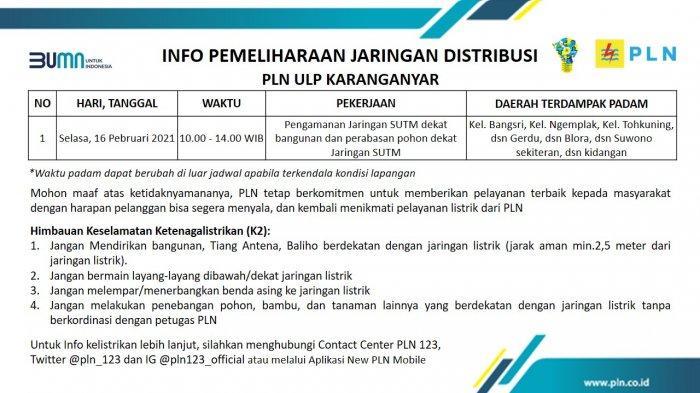 Info Pemeliharaan Jaringan Listrik PLN ULP Karanganyar Selasa 16 Februari 2021