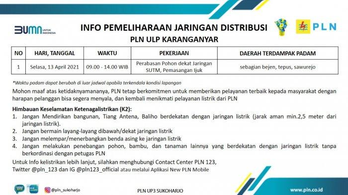 Info Pemeliharaan Jaringan Listrik PLN ULP Karanganyar Selasa 13 April 2021