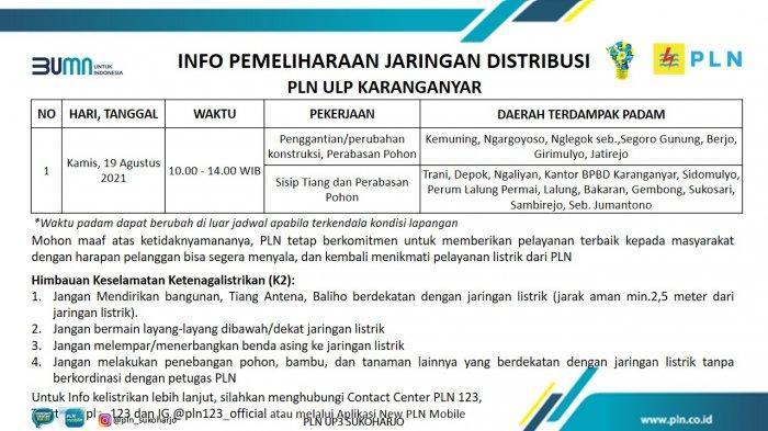 Info Pemeliharaan Jaringan Listrik PLN ULP Karanganyar Kamis 19 Agustus 2021