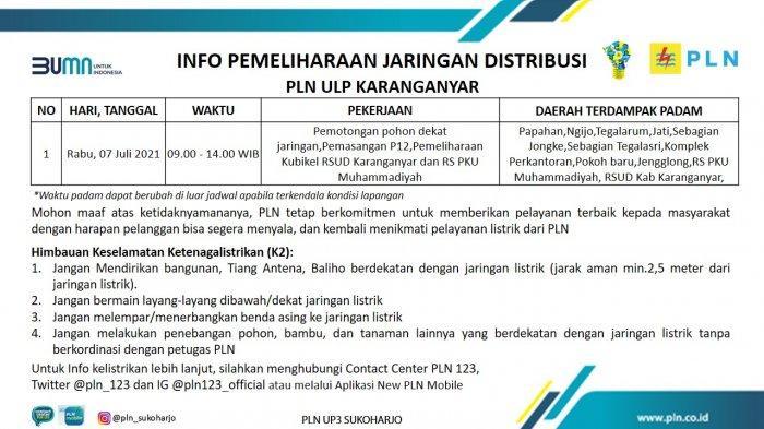 Info Pemeliharaan Jaringan Listrik PLN ULP Karanganyar Rabu 7 Juli 2021