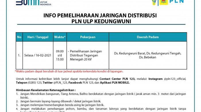 Info Pemeliharaan Jaringan Listrik PLN ULP Kedungwuni Pekalongan Selasa 16 Februari 2020