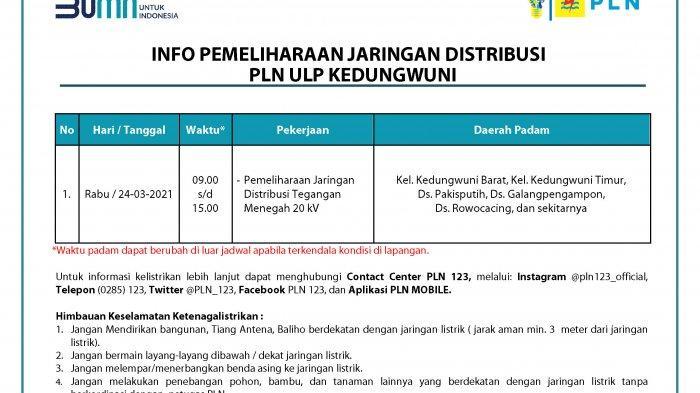 Info Pemeliharaan Jaringan Listrik PLN ULP Kedungwuni Pekalongan 24 Maret 2021