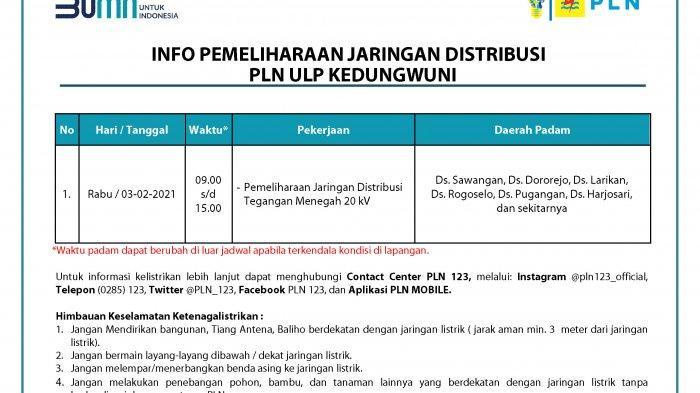 Info Pemeliharaan Jaringan Listrik PLN ULP Kedungwuni Pekalongan Rabu 3 Februari 2020