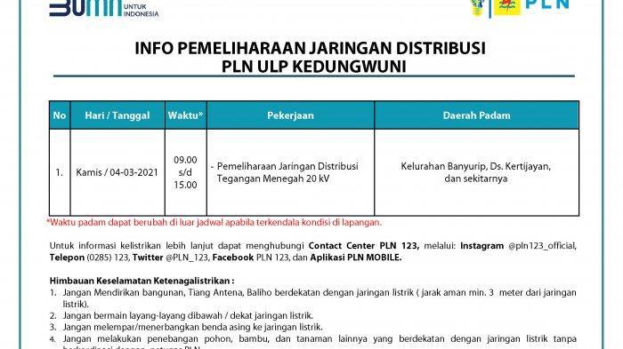Info Pemeliharaan Jaringan Listrik PLN ULP Kedungwuni Pekalongan Kamis 4 Maret 2021