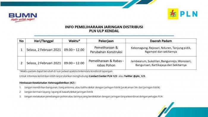 Info Pemeliharaan Jaringan Listrik PLN ULP Kendal Selasa 2 Februari 2021