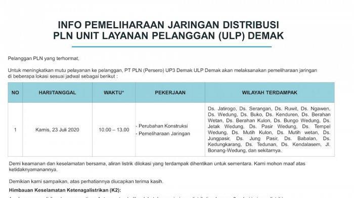 Info Pemeliharaan Jaringan Listrik PLN ULP Kendal, Selasa 21 Juli 2020