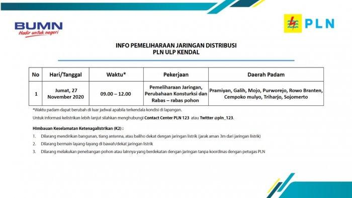 Info Pemeliharaan Jaringan Listrik PLN ULP Kendal Jumat 27 November 2020