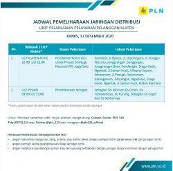 Info Pemeliharaan Jaringan Listrik PLN ULP Klaten Kota Kamis 17 Desember 2020