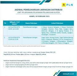 Info Pemeliharaan Jaringan Listrik PLN ULP Klaten Kota Kamis 18 Februari 2021