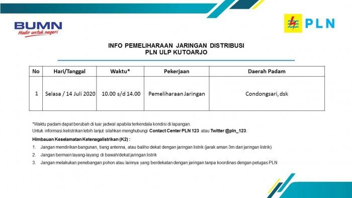 Info Pemeliharaan Jaringan Listrik PLN ULP Kutoarjo, Selasa 14 Juli 2020