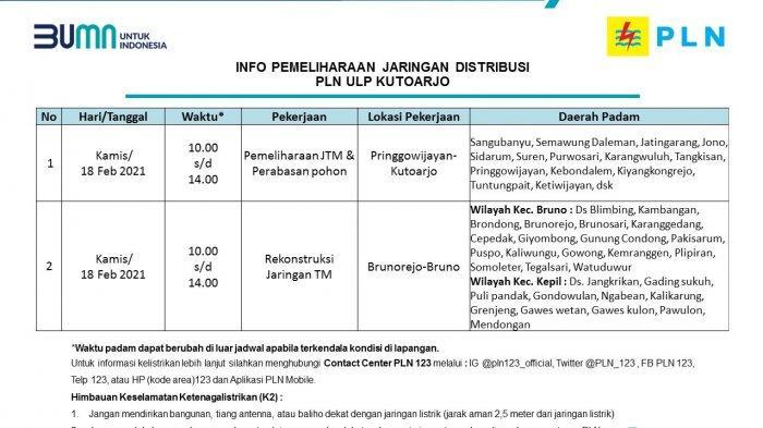 Info Pemeliharaan Jaringan Listrik PLN ULP Kutoarjo Kamis 18 Februari 2020