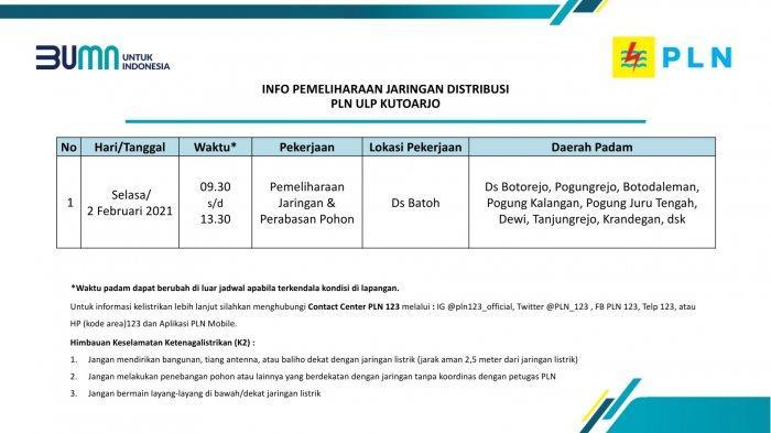 Info Pemeliharaan Jaringan Listrik PLN ULP Kutoarjo Selasa 2 Februari 2021