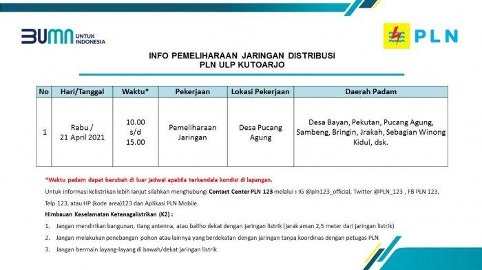 Info Pemeliharaan Jaringan Listrik PLN ULP Kutoarjo Rabu 21 April 2021
