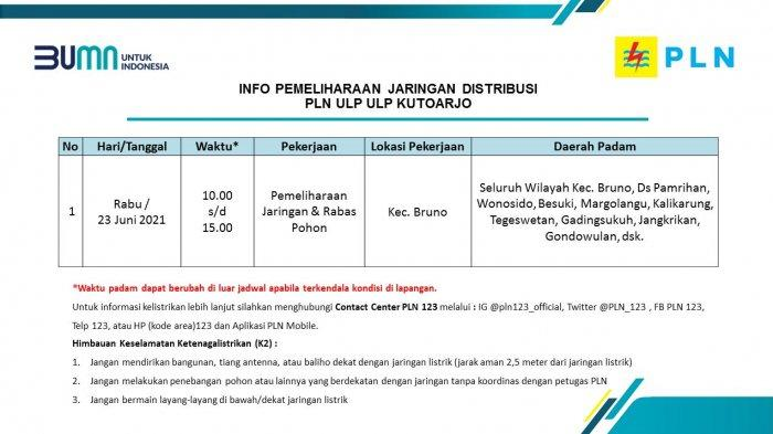 Info Pemeliharaan Jaringan Listrik PLN ULP Kutoarjo Rabu 23 Juni 2021