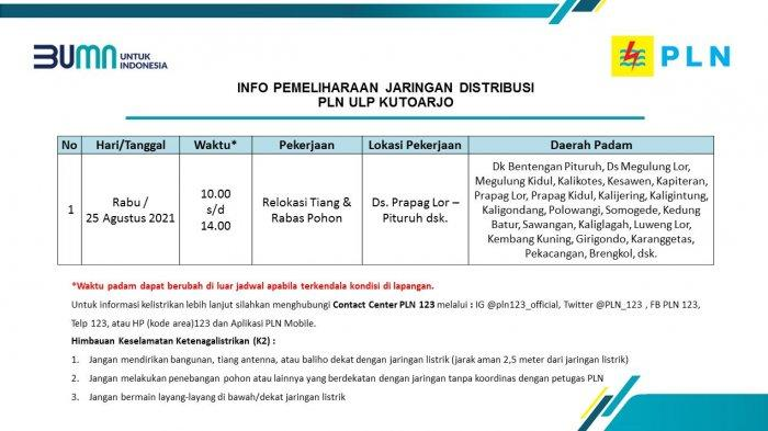 Info Pemeliharaan Jaringan Listrik PLN ULP Kutoarjo Rabu 25 Agustus 2021