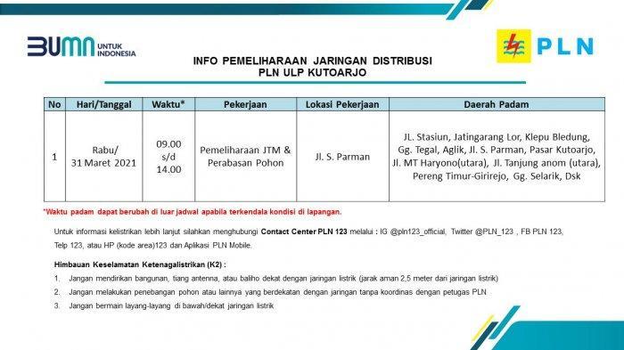 Info Pemeliharaan Jaringan Listrik PLN ULP Kutoarjo Rabu 31 Maret 2021