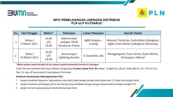Info Pemeliharaan Jaringan Listrik PLN ULP Kutoarjo Selasa 9  Maret 2021