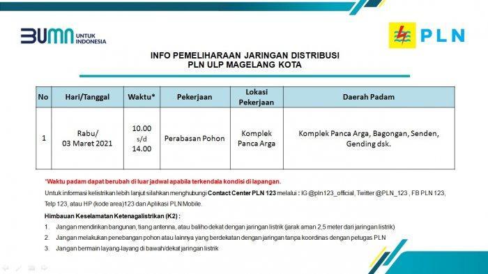 Info Pemeliharaan Jaringan PLN ULP Magelang Kota Rabu 3 Maret 2021