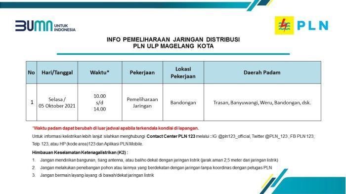 Info Pemeliharaan Jaringan Listrik PLN ULP Magelang Kota Selasa 5 Oktober 2021