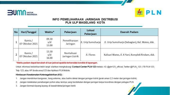 Info Pemeliharaan Jaringan Listrik PLN ULP Magelang Kota Kamis 7 Oktober 2021
