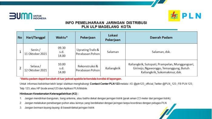 Info Pemeliharaan Jaringan Listrik PLN ULP Magelang Kota Selasa 12 Oktober 2021