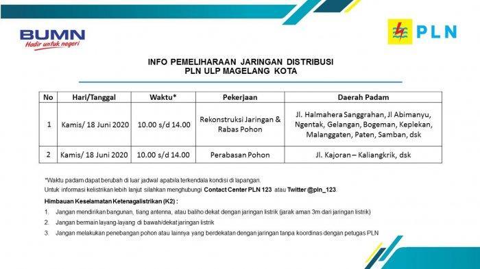 Info Pemeliharaan Jaringan Listrik Bogeman PLN ULP Magelang Kota, Kamis 18 Juni 2020