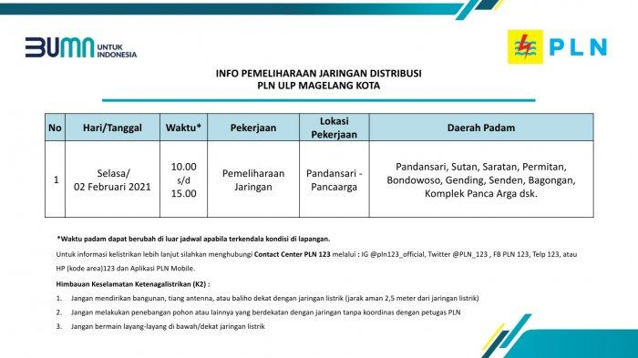 Info Pemeliharaan Jaringan Listrik PLN ULP Magelang Kota Selasa 2 Februari 2021