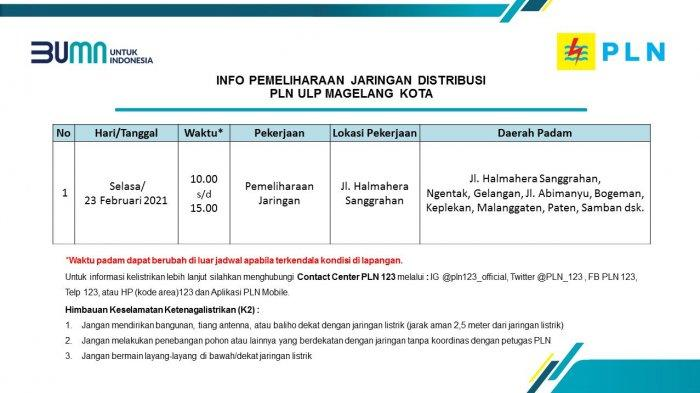 Info Pemeliharaan Jaringan Listrik PLN ULP Magelang Kota Selasa 23 Februari 2021