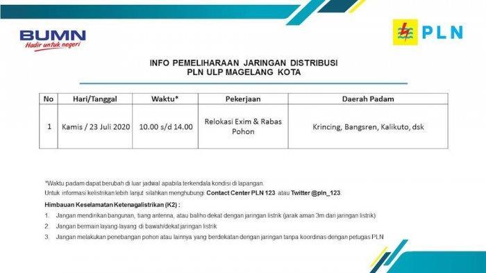 Info Pemeliharaan Jaringan Listrik PLN ULP Magelang Kota Kamis 23 Juli 2020