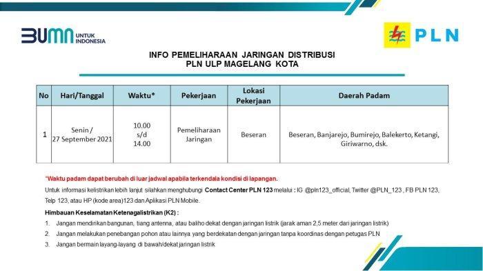 Info Pemeliharaan Jaringan Listrik PLN ULP Magelang Kota Senin 27 September 2021
