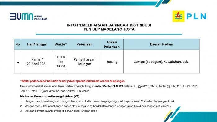 Info Pemeliharaan Jaringan Listrik PLN ULP Magelang Kota Kamis 29 April 2021