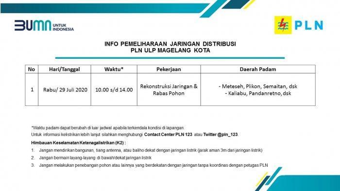 Info Pemeliharaan Jaringan Listrik PLN ULP Magelang Kota Rabu 29 Juli 2020