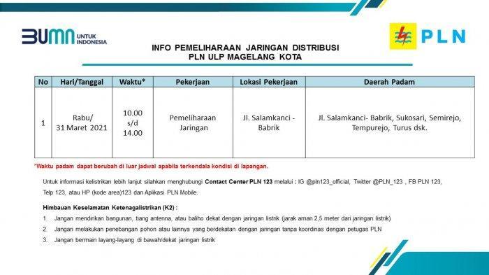 Info Pemeliharaan Jaringan Listrik PLN ULP Magelang Kota Rabu 31 Maret 2021