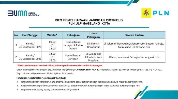 Info Pemeliharaan Jaringan Listrik PLN ULP Magelang Kota Kamis 30 September 2021
