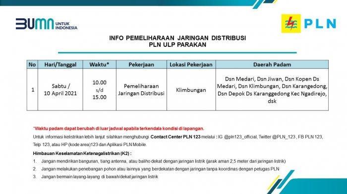 Info Pemeliharaan Jaringan PLN ULP Parakan Temanggung Sabtu 10 April 2021