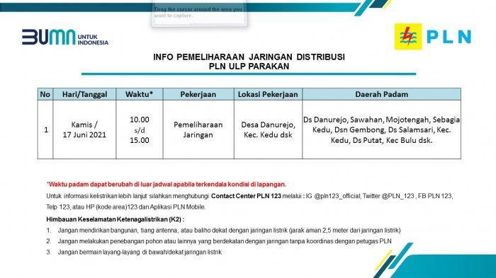Info Pemeliharaan Jaringan Listrik PLN ULP Parakan Temanggung Kamis 17 Juni 2021