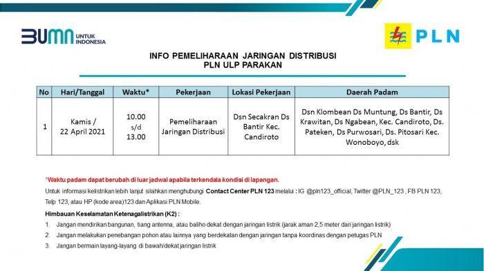 Info Pemeliharaan Jaringan Listrik PLN ULP Parakan Temanggung Kamis 22 April 2021
