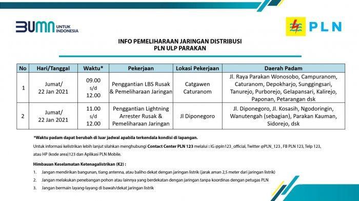 Info Pemeliharaan Jaringan Listrik PLN ULP Parakan Temanggung Kamis 22 Januari 2020