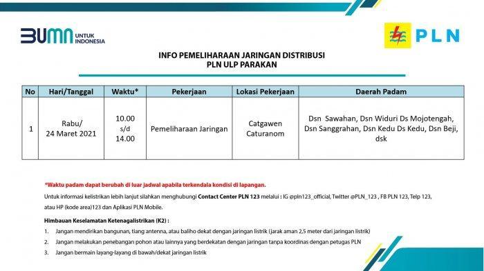 Info Pemeliharaan Jaringan Listrik PLN ULP Parakan Temanggung Rabu 24 Maret 2021