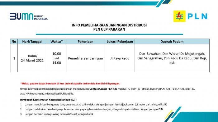 Info Pemeliharaan Jaringan Listrik PLN ULP Parakan Temanggung Kamis 25 Maret 2021