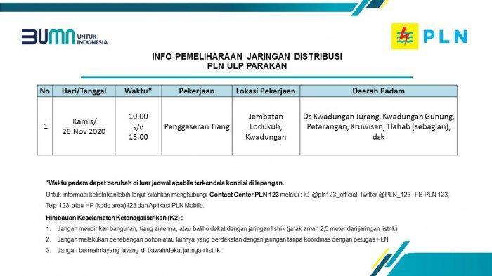 Info Pemeliharaan Jaringan Listrik PLN ULP Parakan Kamis 26 November 2020